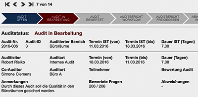 Auditstatus - Audit in Bearbeitung