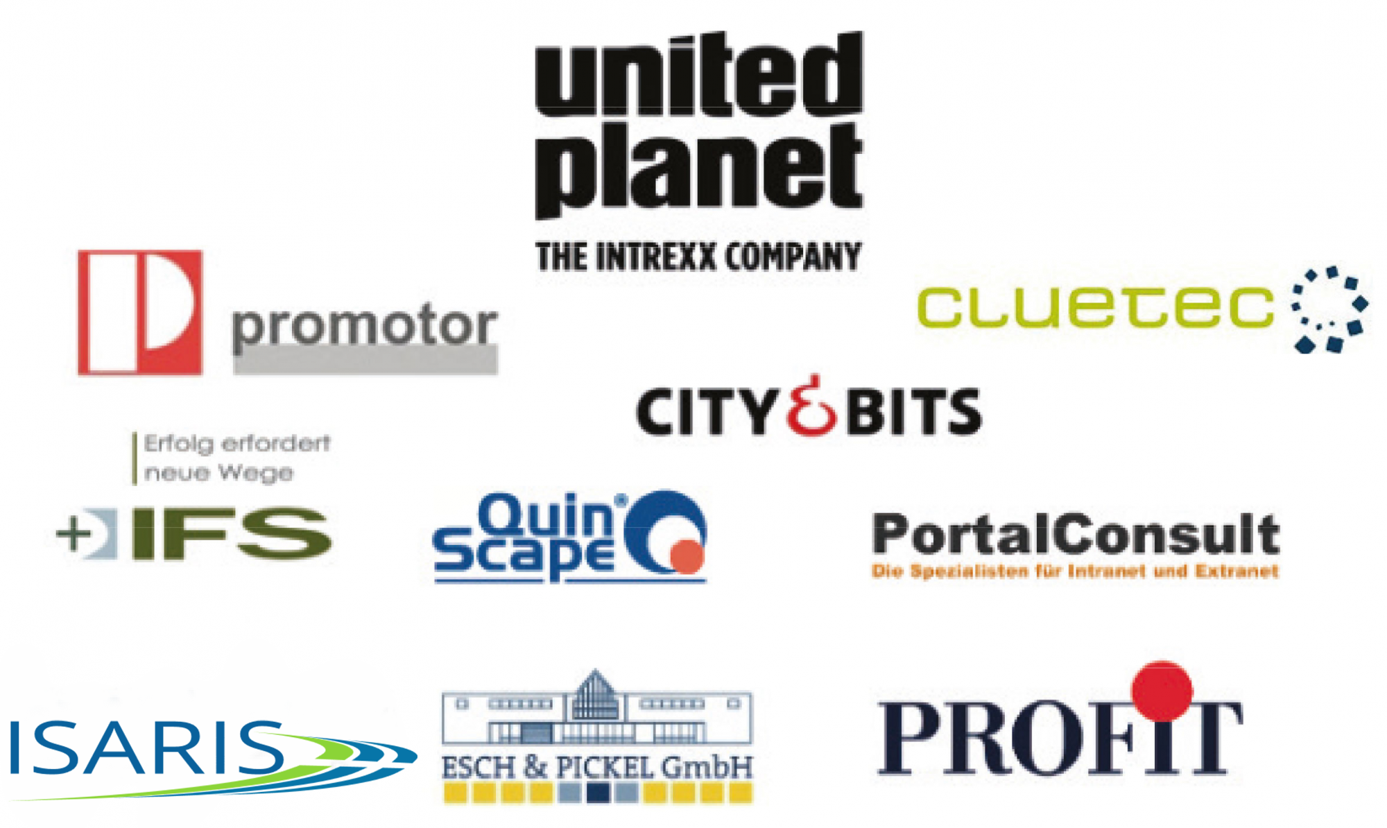 AeroEx,United Planet,init.all,promotor,PortalConsult,City&Bits,IFS,QuinScape,KaizenInstitute,SD,Esch&Pickel,PROFIT